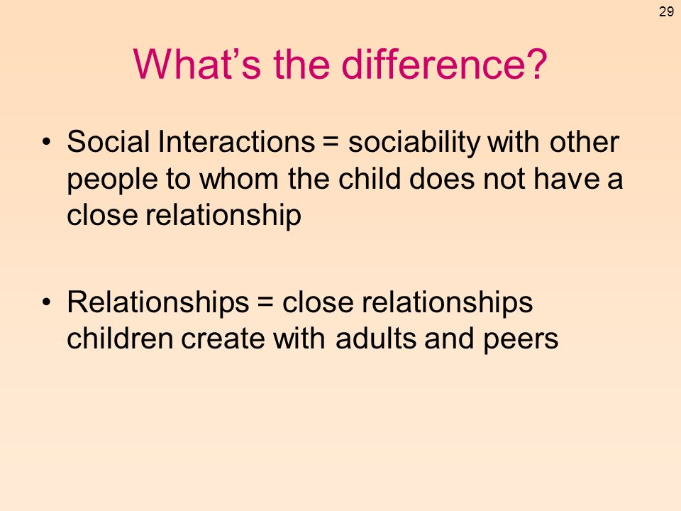 What's the difference Social Interactions = sociability with other people to whom the child does not have a close relationship.