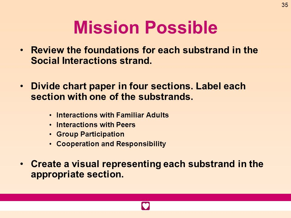 Mission Possible Review the foundations for each substrand in the Social Interactions strand.