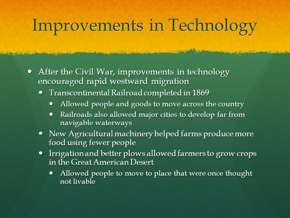 Improvements in Technology