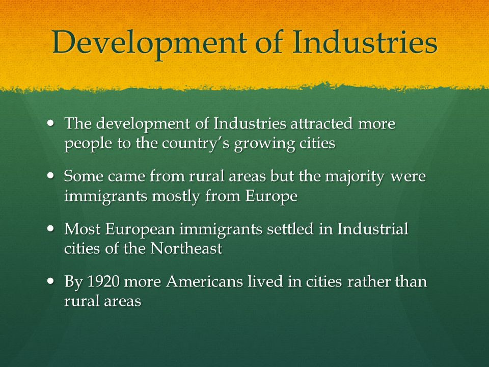 Development of Industries