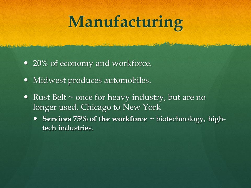 Manufacturing 20% of economy and workforce.