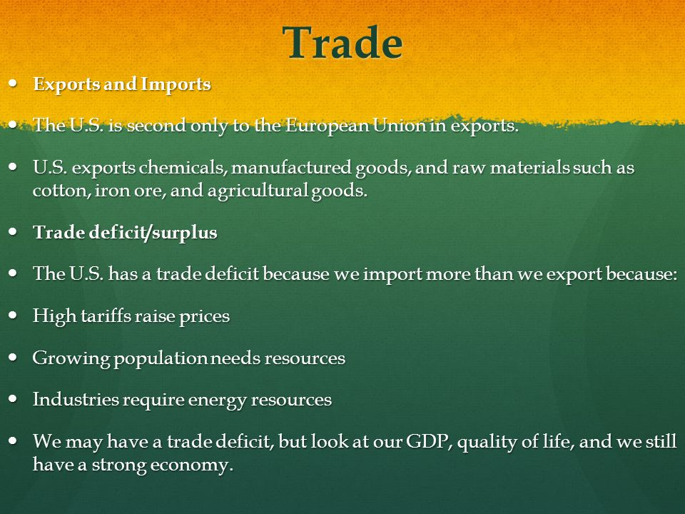 Trade Exports and Imports
