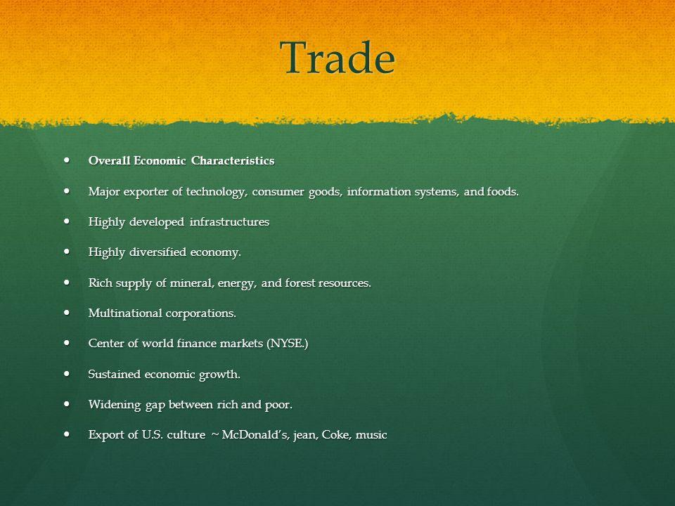Trade Overall Economic Characteristics