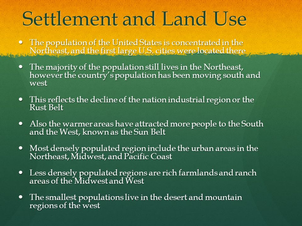 Settlement and Land Use