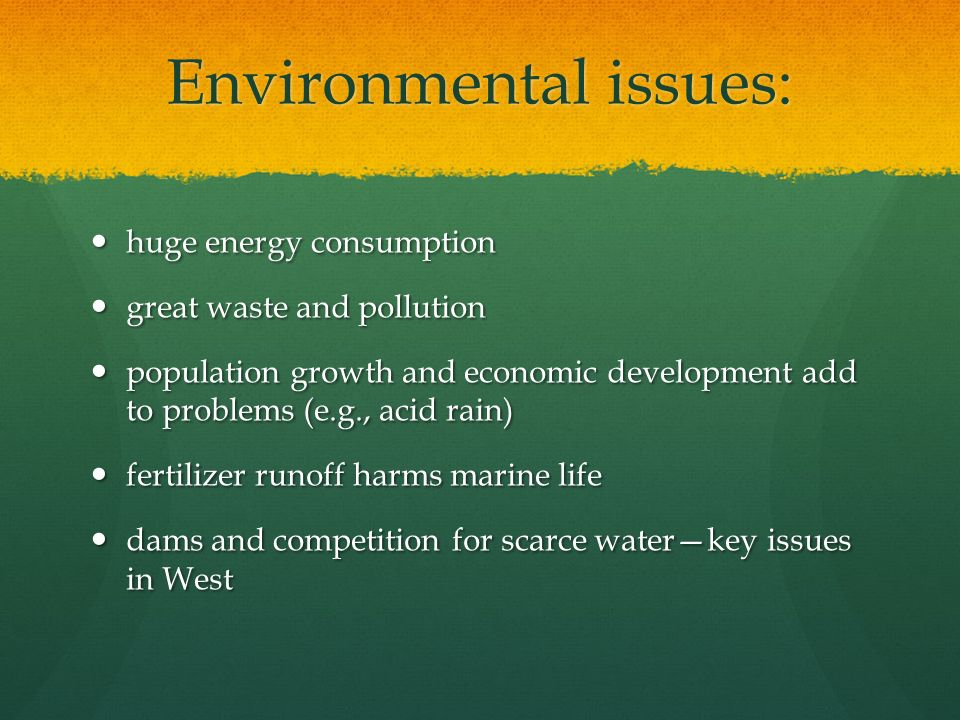 Environmental issues: