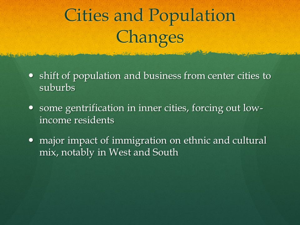 Cities and Population Changes
