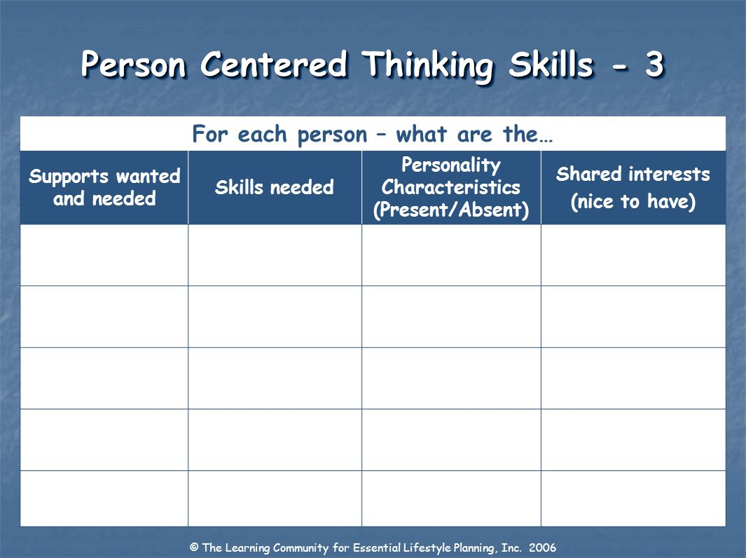 Person Centered Thinking Skills - 3