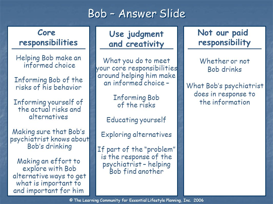 Bob – Answer Slide Core responsibilities Use judgment and creativity