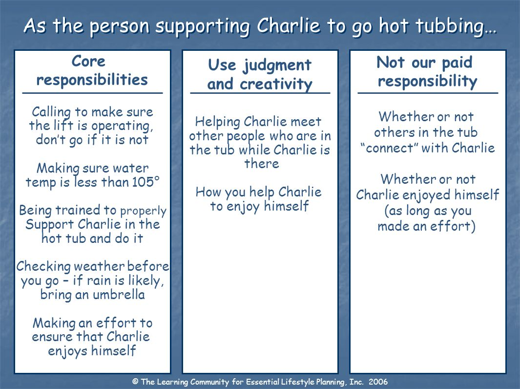 As the person supporting Charlie to go hot tubbing…