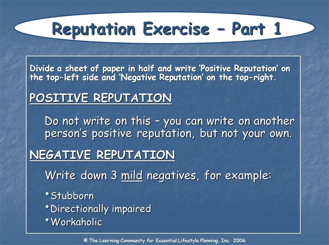 Reputation Exercise – Part 1