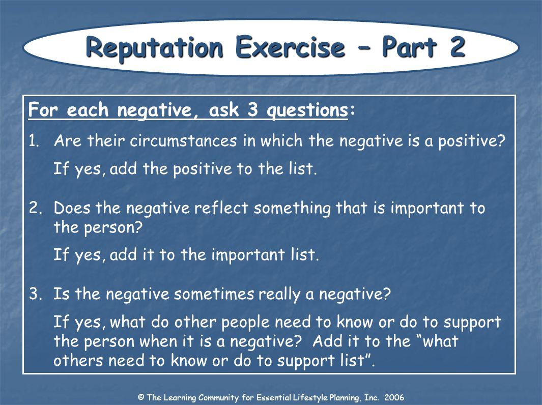Reputation Exercise – Part 2