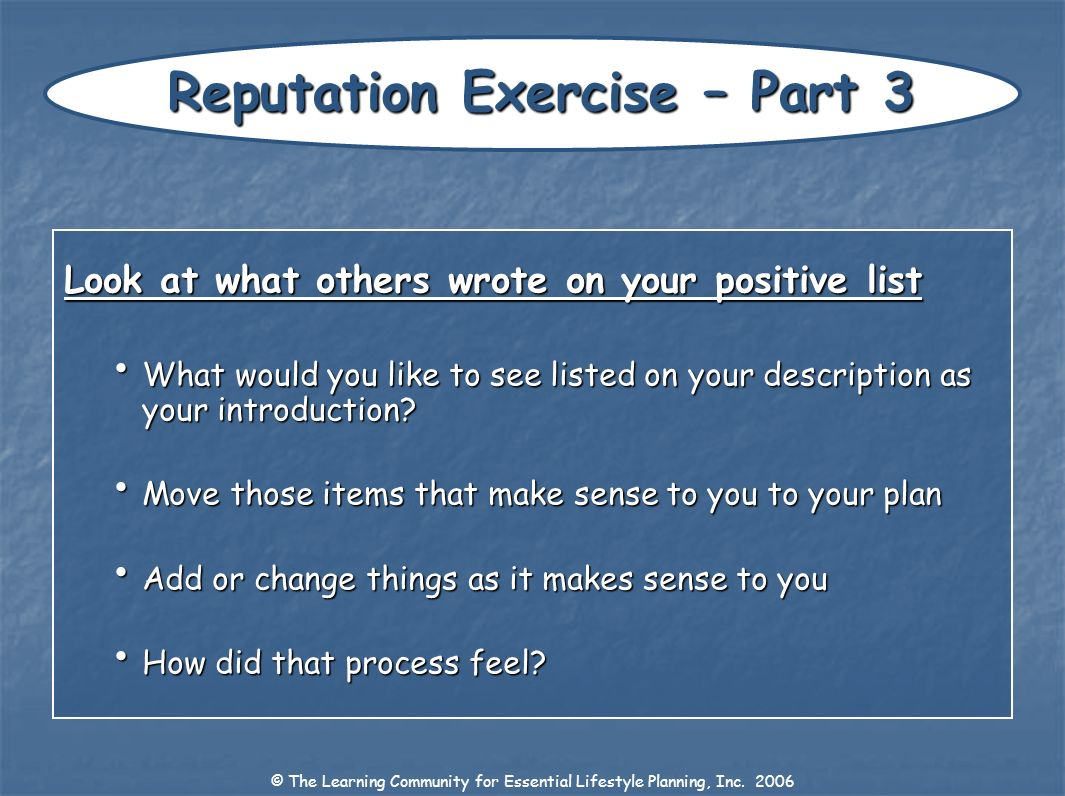 Reputation Exercise – Part 3