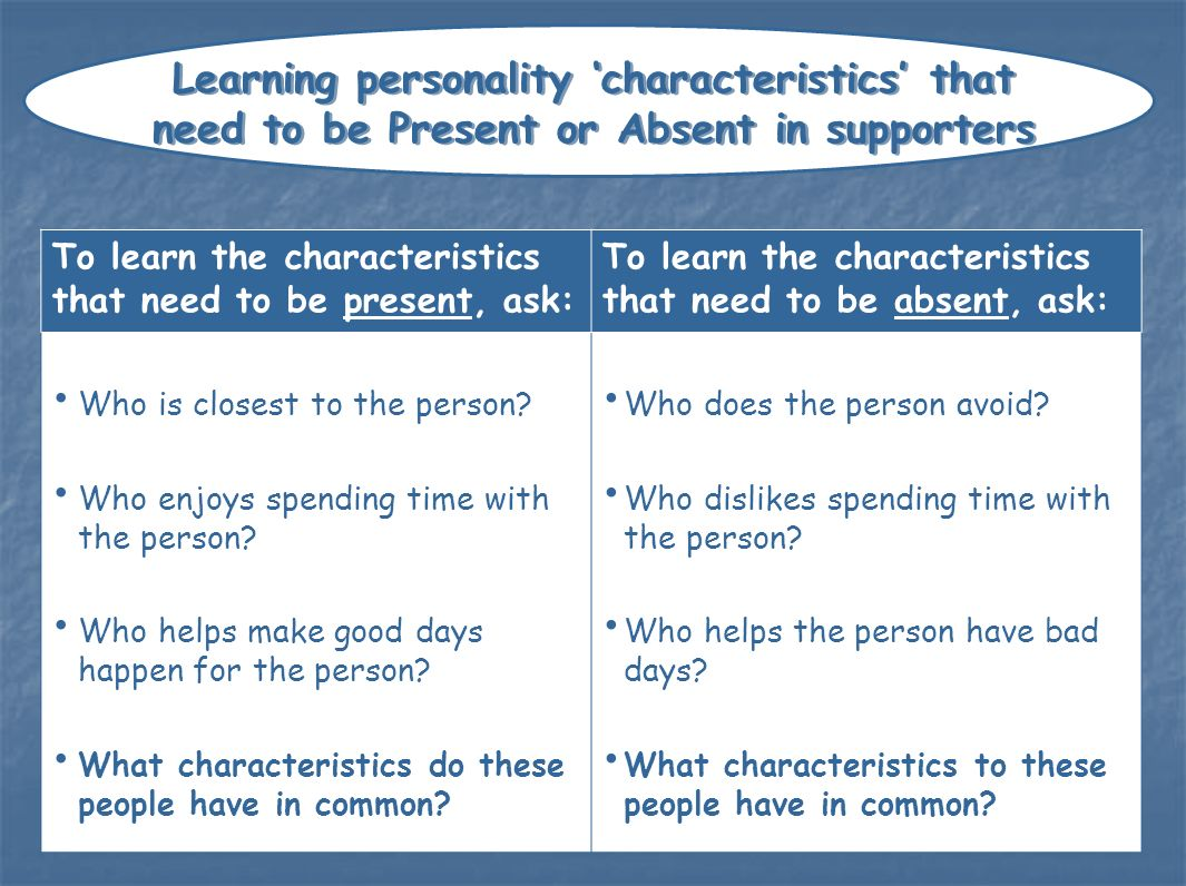 Learning personality 'characteristics' that