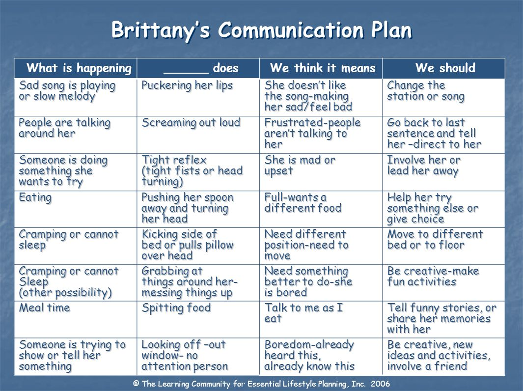 Brittany's Communication Plan