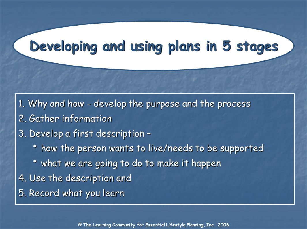 Developing and using plans in 5 stages
