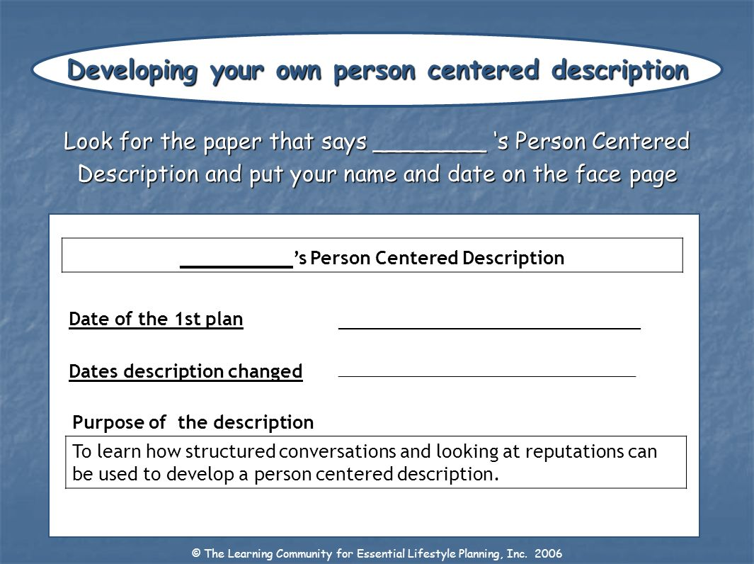 Developing your own person centered description