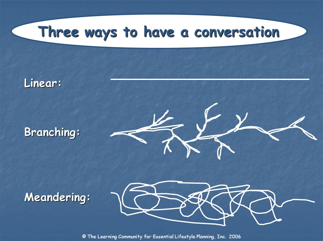 Three ways to have a conversation