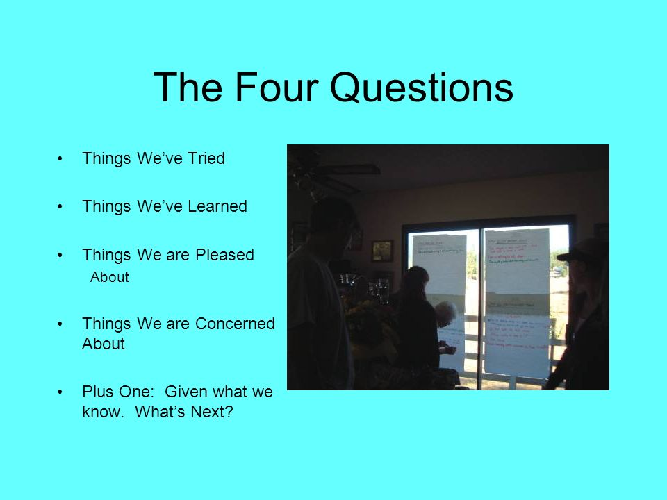 The Four Questions Things We've Tried Things We've Learned