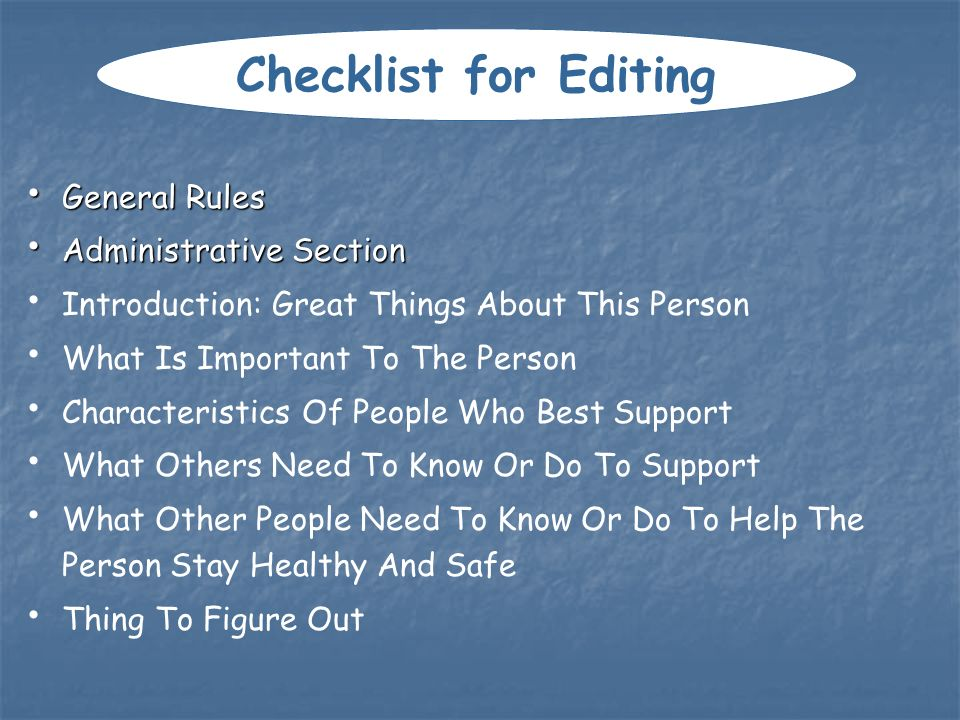 Checklist for Editing General Rules Administrative Section