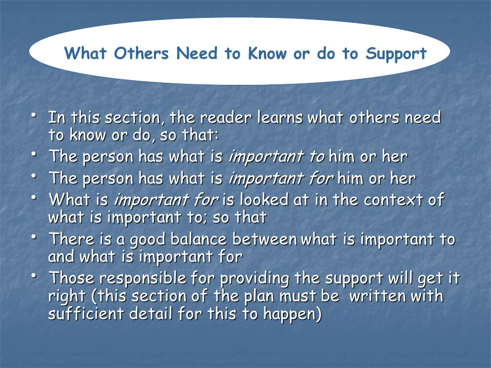 What Others Need to Know or do to Support