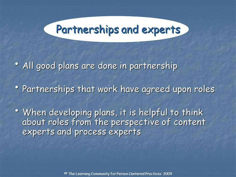 Partnerships and experts