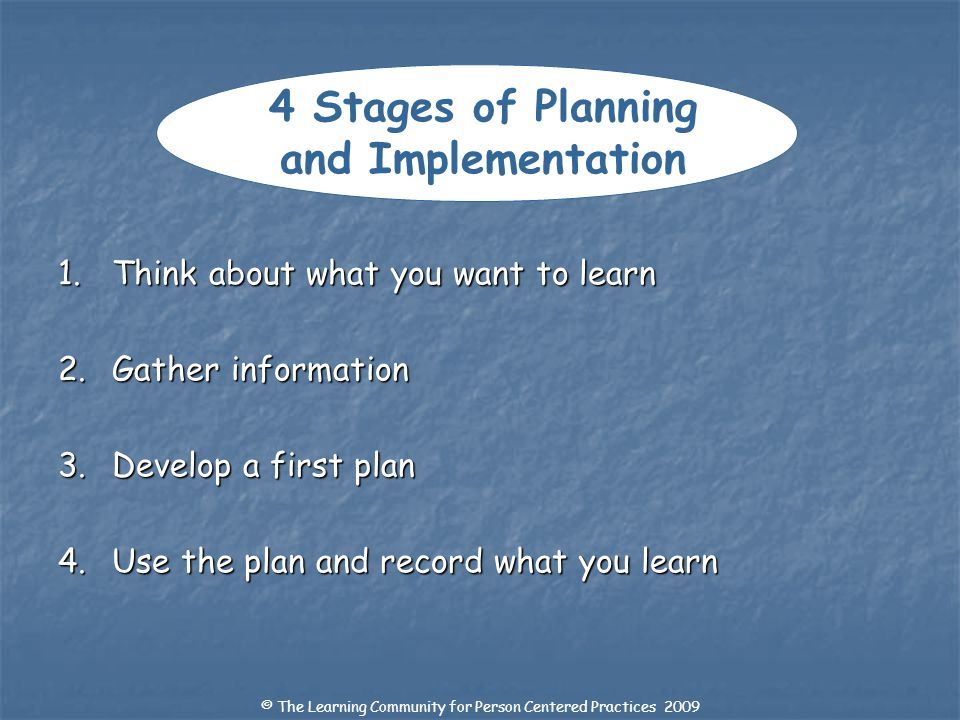 4 Stages of Planning and Implementation