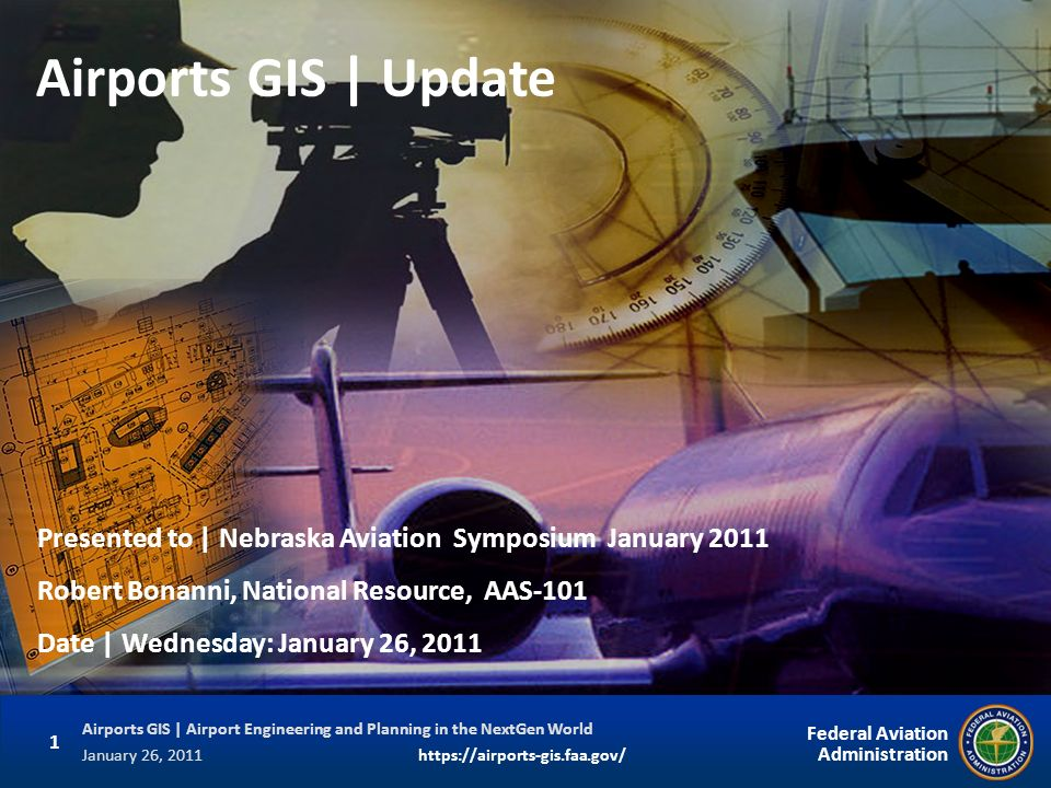 Airports GIS | Update Presented to | Nebraska Aviation Symposium January Robert Bonanni, National Resource, AAS-101.