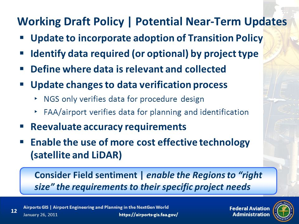 Working Draft Policy | Potential Near-Term Updates
