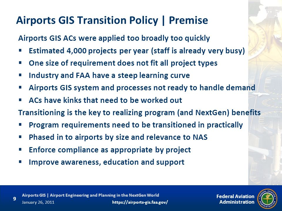 Airports GIS Transition Policy | Premise