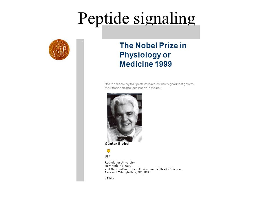 Peptide signaling The Nobel Prize in Physiology or Medicine 1999