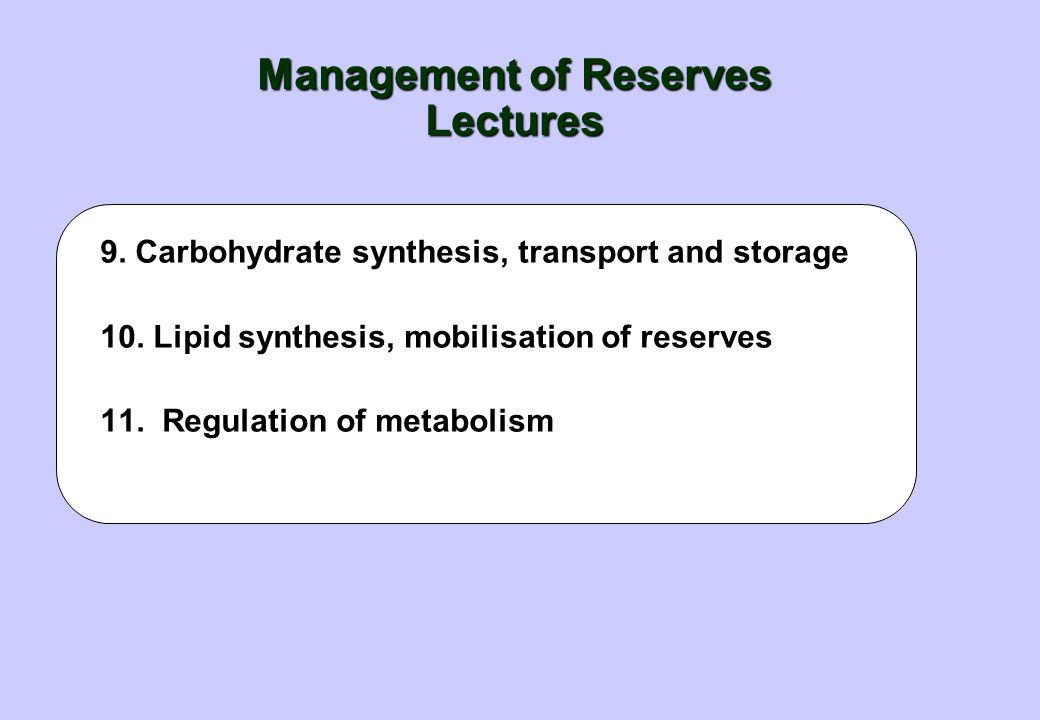 Management of Reserves Lectures