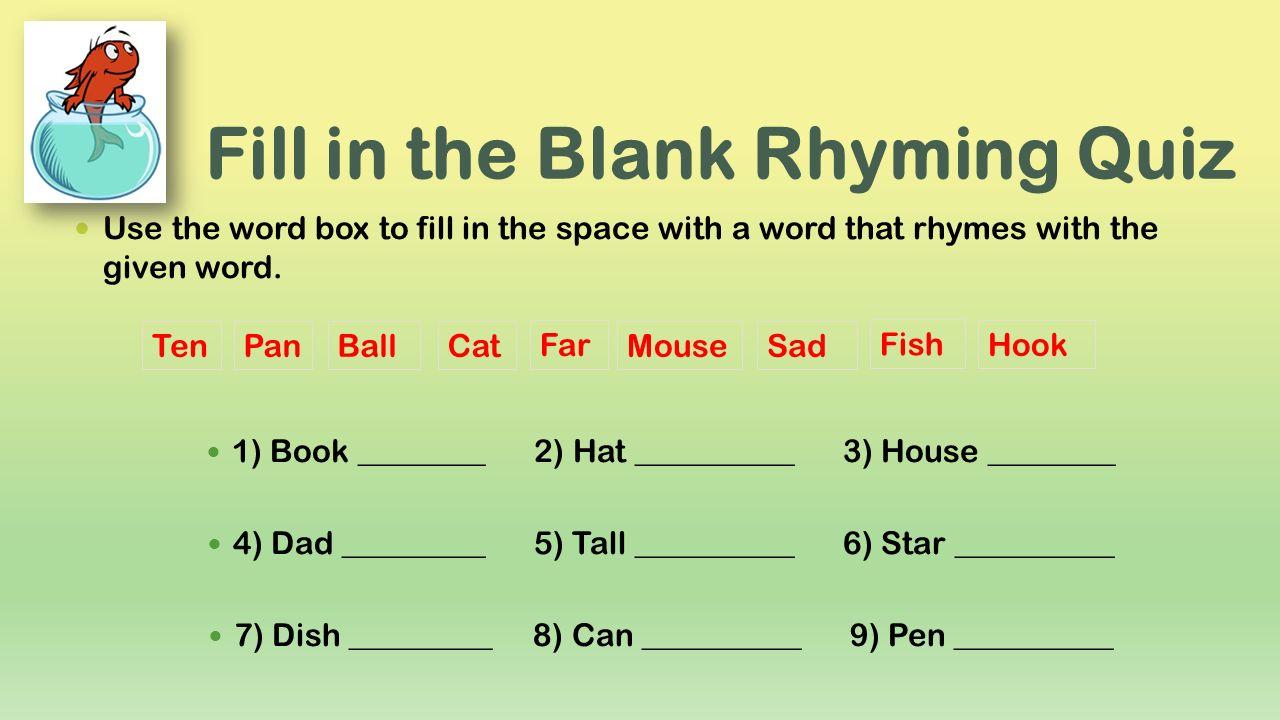 Cat In The Hat Rhyming Words Worksheet