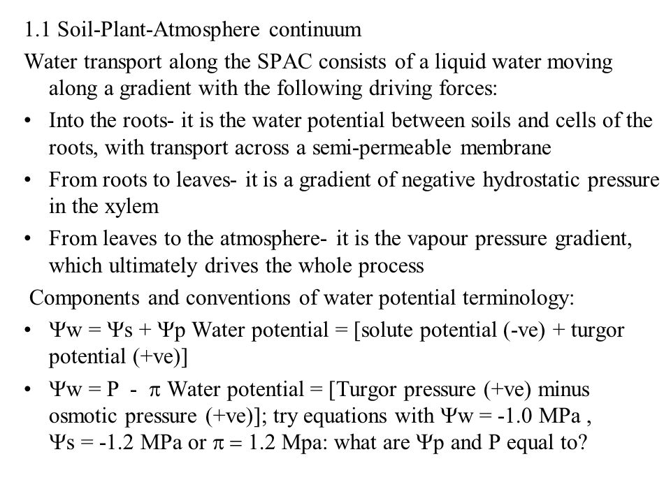 1.1 Soil-Plant-Atmosphere continuum
