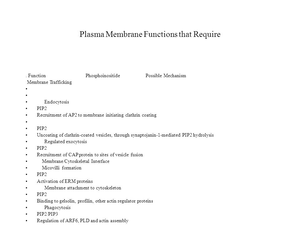 Plasma Membrane Functions that Require