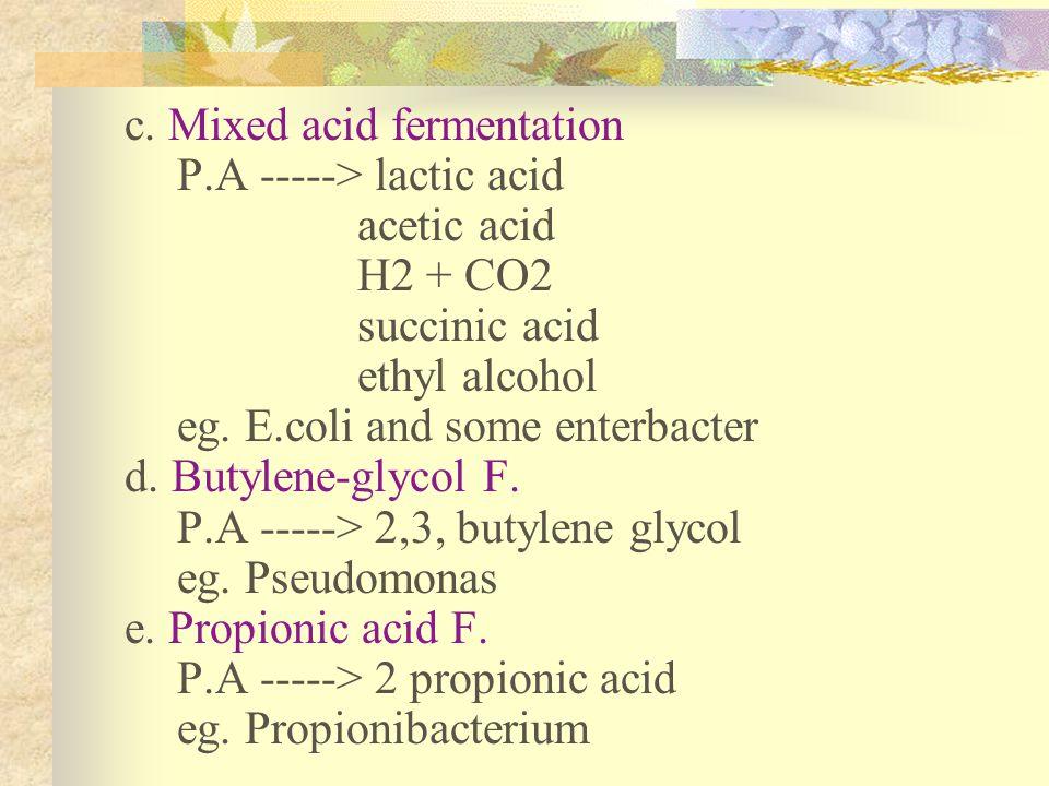 c. Mixed acid fermentation