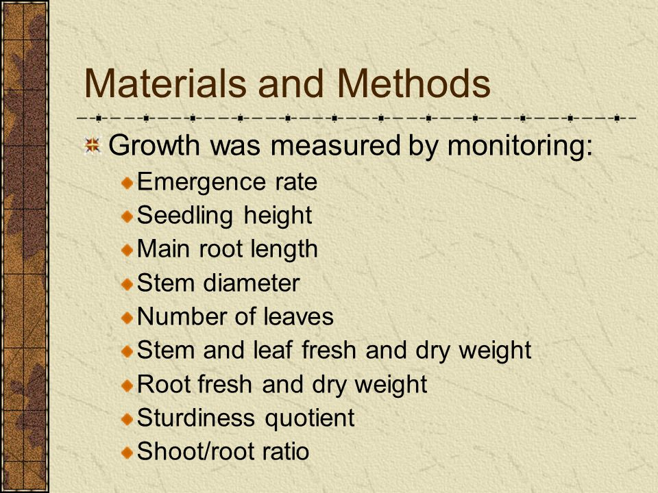 Materials and Methods Growth was measured by monitoring: