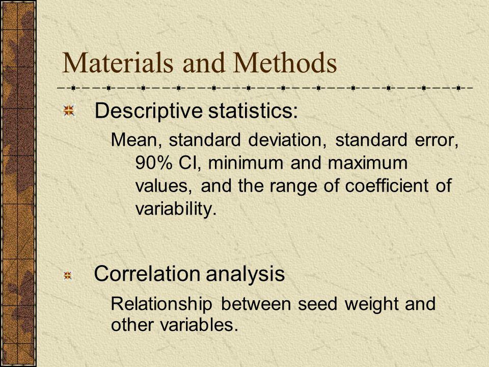 Materials and Methods Descriptive statistics: