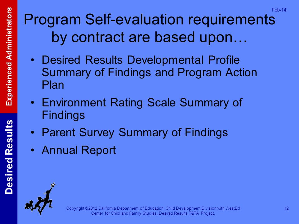 Program Self-evaluation requirements by contract are based upon…