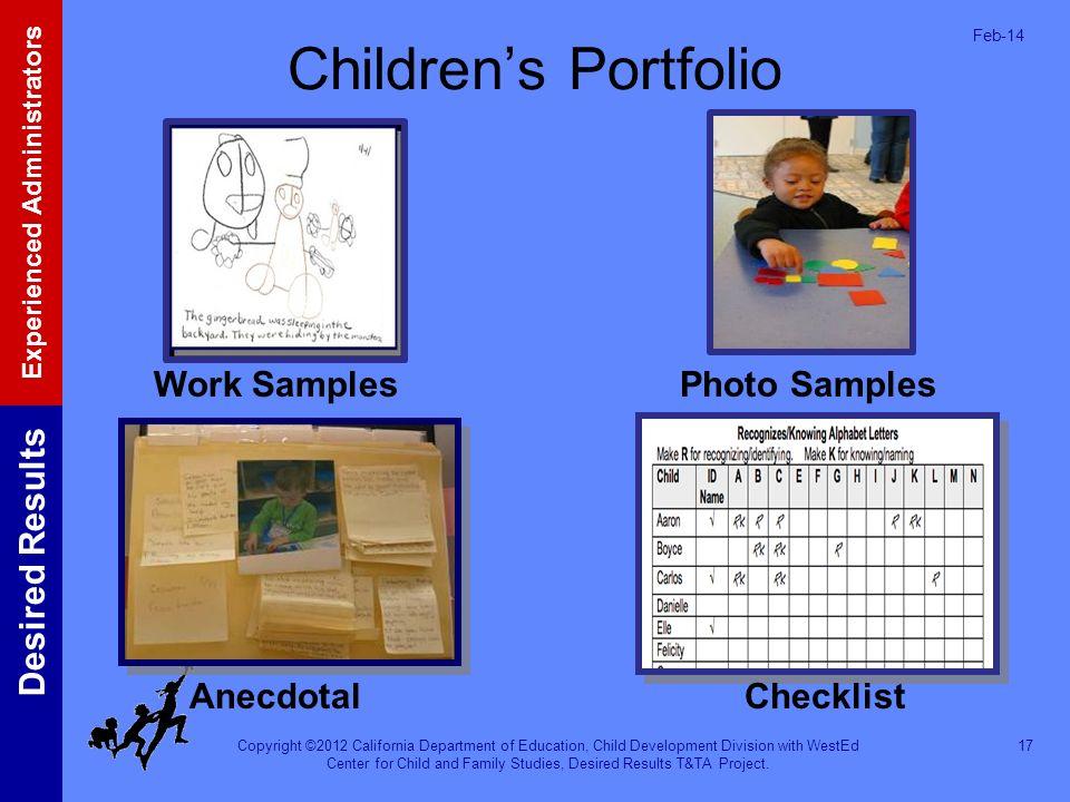Children's Portfolio Work Samples Photo Samples Anecdotal Checklist
