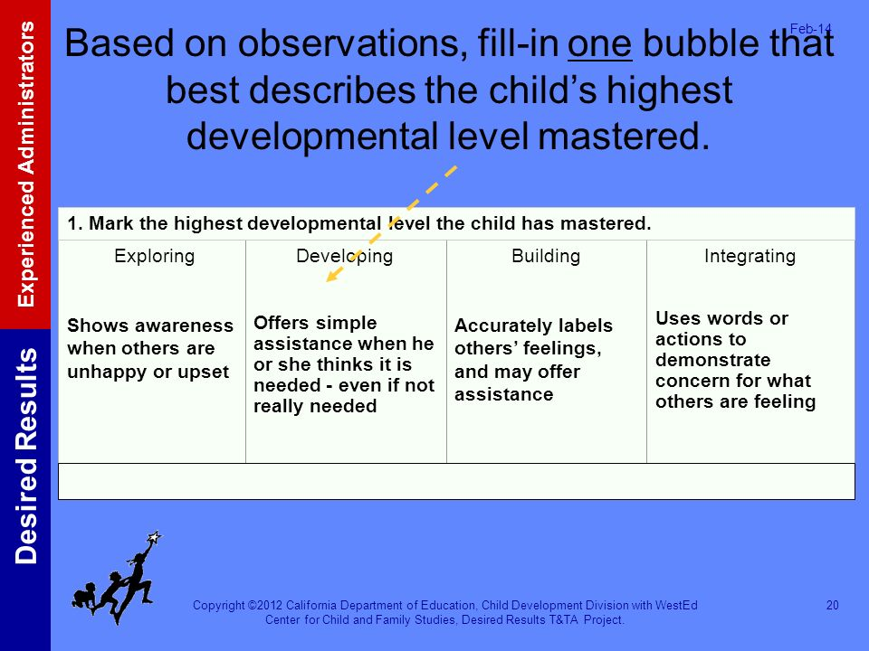 Mar-17 Based on observations, fill-in one bubble that best describes the child's highest developmental level mastered.