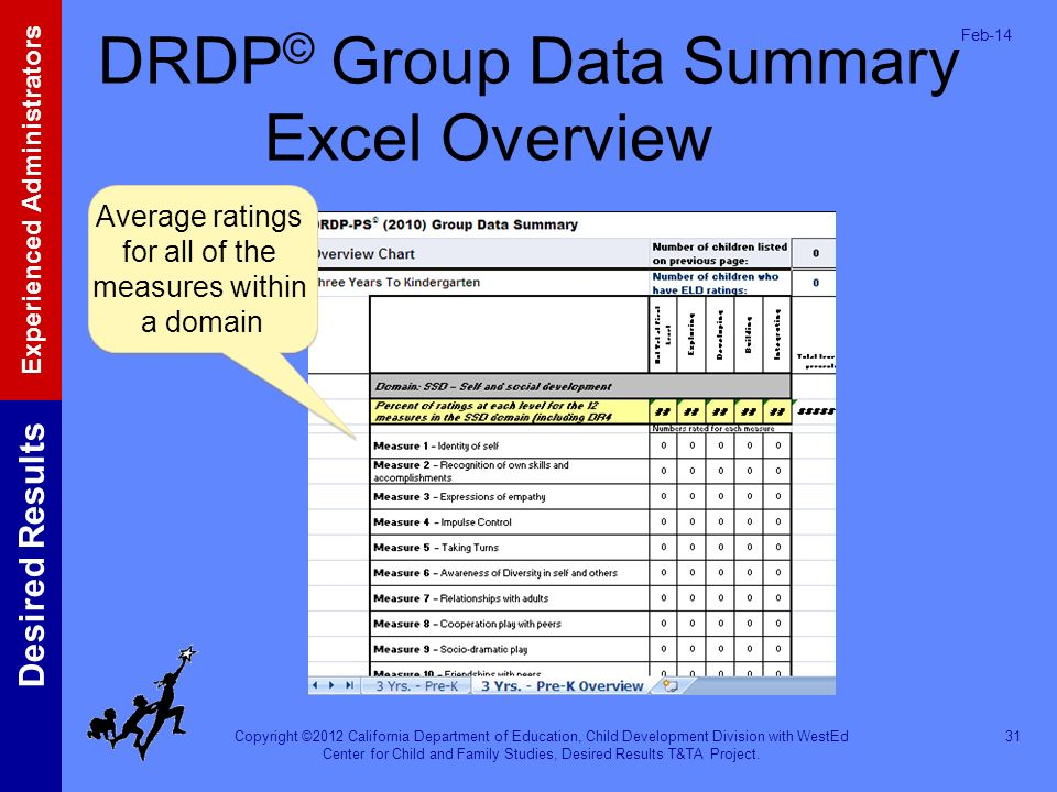 DRDP© Group Data Summary Excel Overview