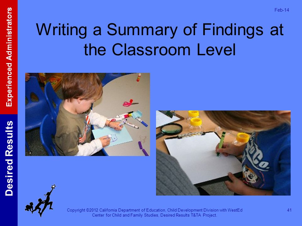 Writing a Summary of Findings at the Classroom Level