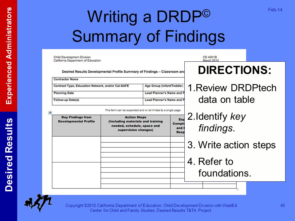 Writing a DRDP© Summary of Findings