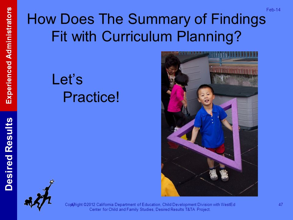 How Does The Summary of Findings Fit with Curriculum Planning