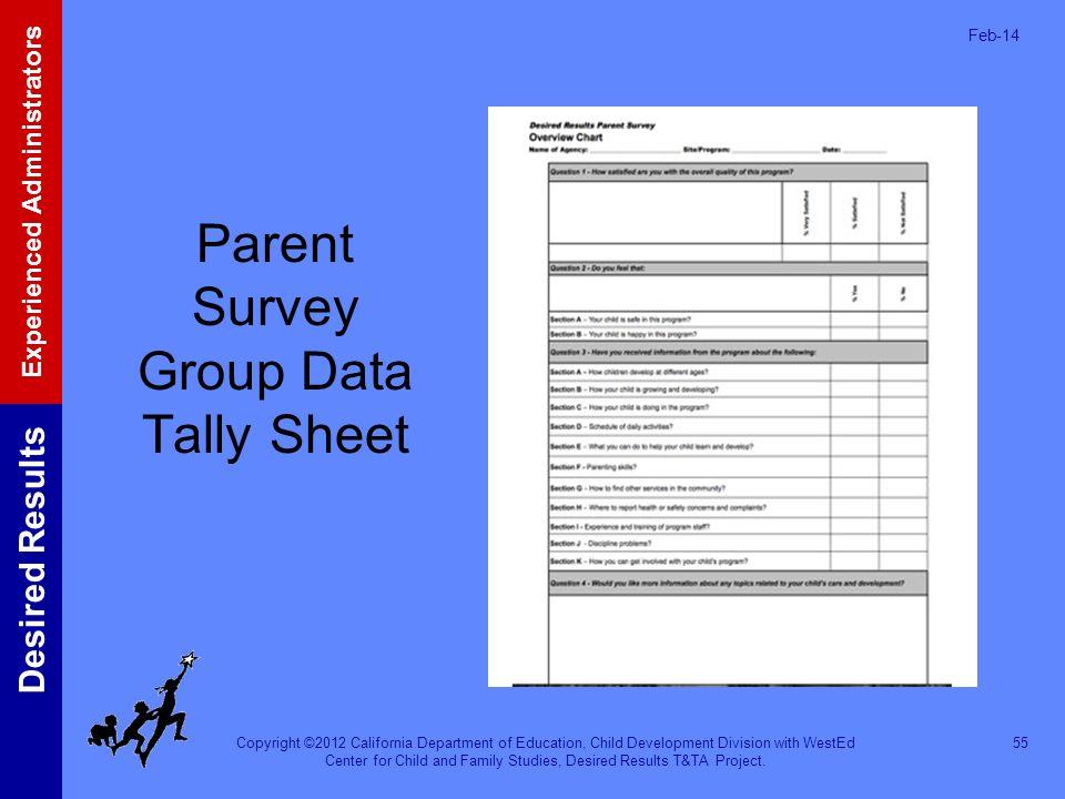 Parent Survey Group Data Tally Sheet