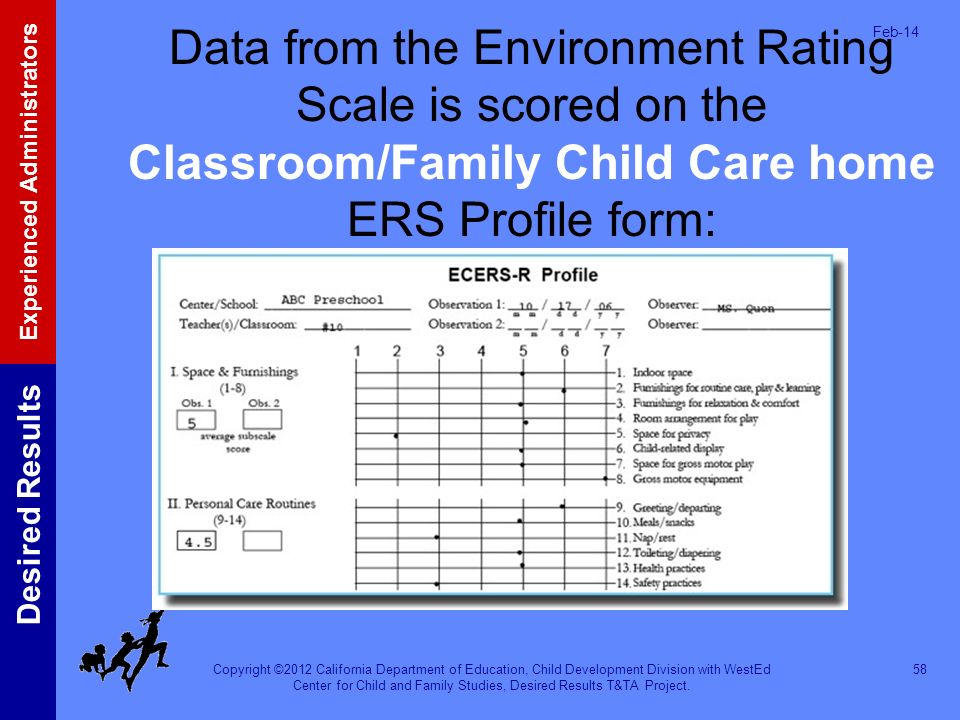 Mar-17 Data from the Environment Rating Scale is scored on the Classroom/Family Child Care home ERS Profile form: