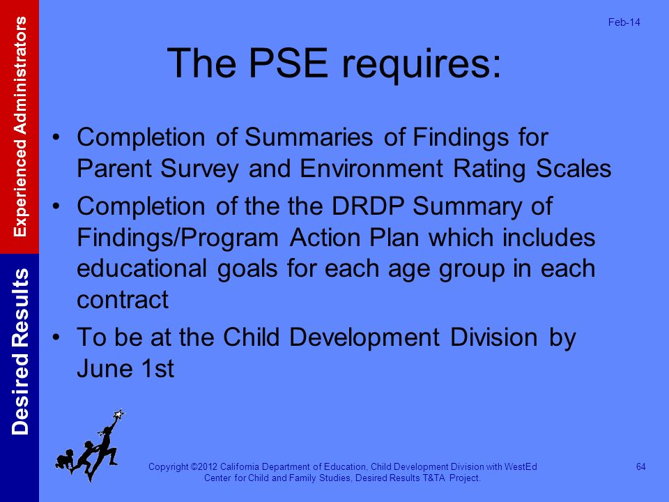 Mar-17 The PSE requires: Completion of Summaries of Findings for Parent Survey and Environment Rating Scales.