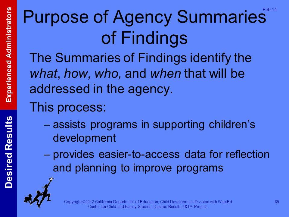 Purpose of Agency Summaries of Findings