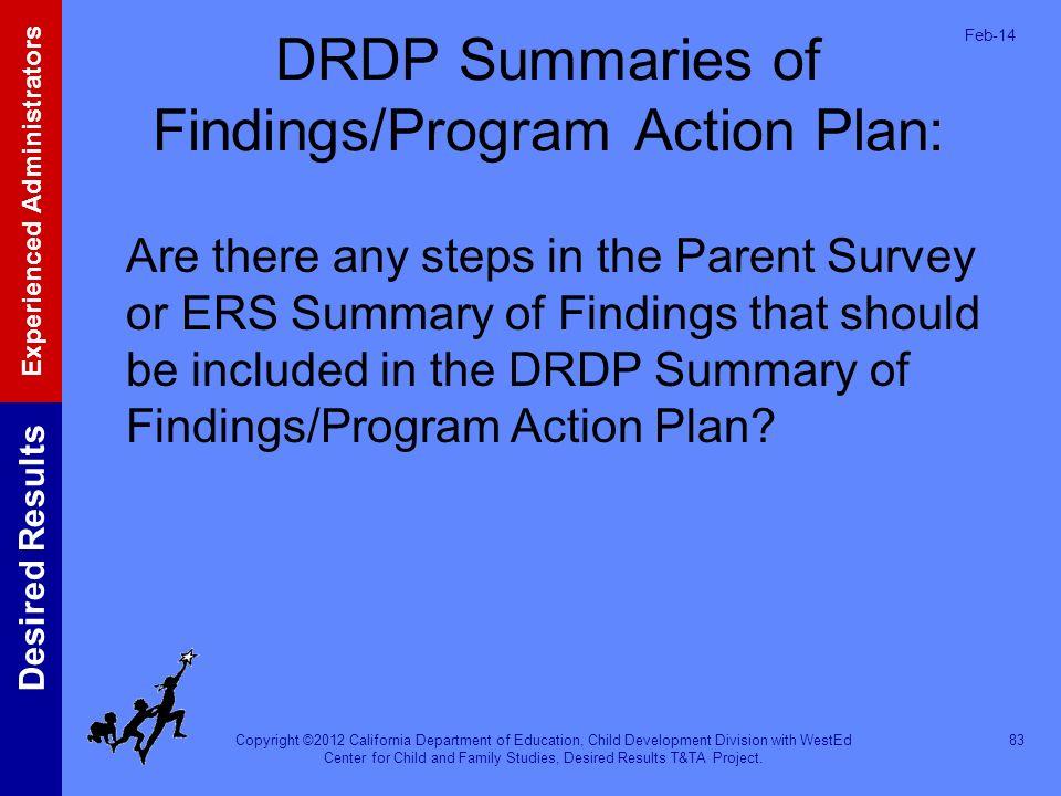 DRDP Summaries of Findings/Program Action Plan: