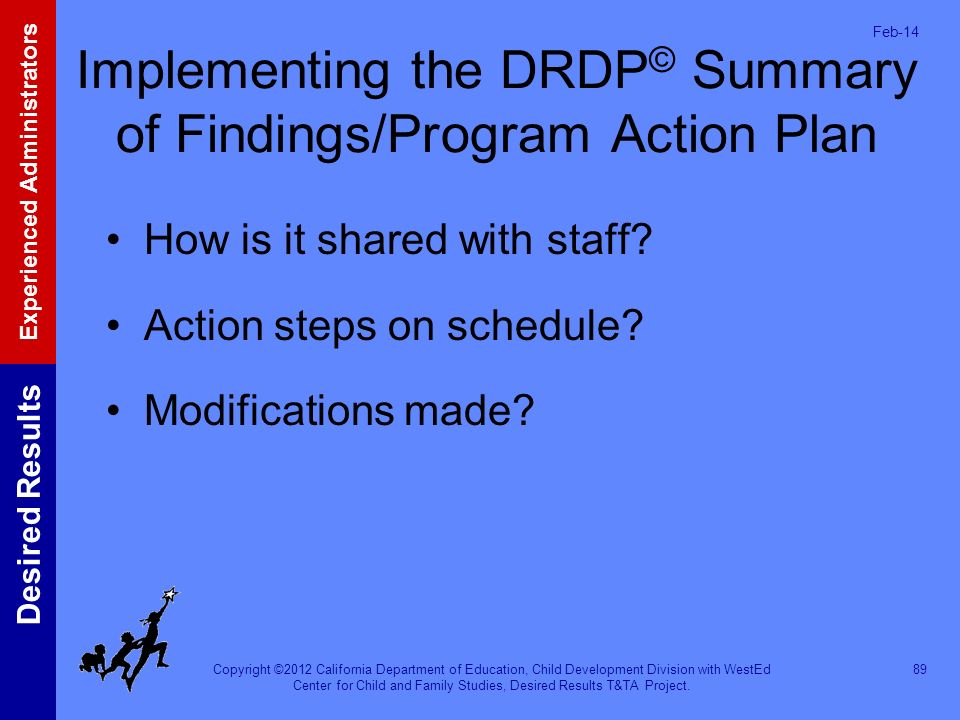 Implementing the DRDP© Summary of Findings/Program Action Plan